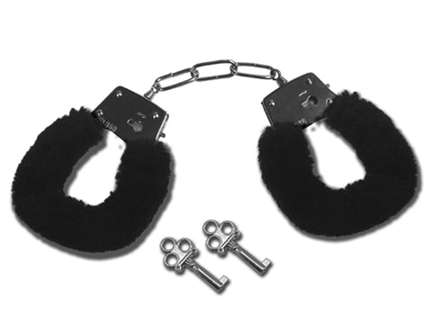 Sex and Mischief Furry Handcuffs - Black SS100-66