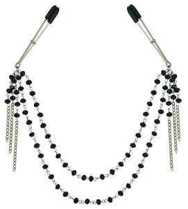 Midnight Black Jeweled Nipple Clips SS520-31