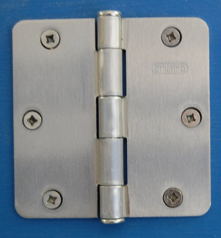 "3-1/2"" x 3-1/2"" -1/4"" Radius Brush Nickel Hinges Door Hardware"