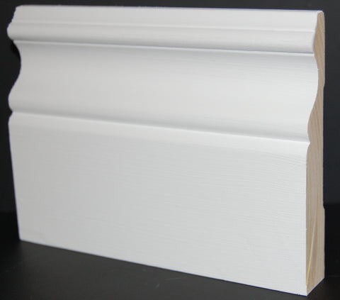 "4-1/4"" x 3/4"" Finger Joint Primed Pine Colonial Baseboard"