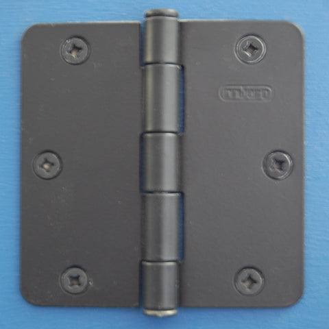 "3-1/2"" x 3-1/2"" - 1/4"" Radius Flat Black Hinges Door Hardware"