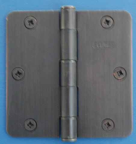 "3-1/2"" x 3-1/2"" - 1/4"" Radius Oil Rubbed Bronze Hinges Door Hardware"