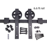 6.6 ft- Sliding Barn Door Kit, J Shape Hangers, Big Wagon Wheel Barn Door Hardware