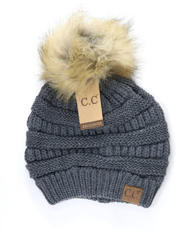 C.C Exclusives Faux Fur Pom Pom Beanie HAT-43