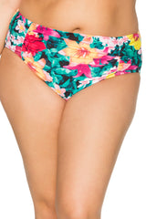 Sunsets Swim Shirred Bottom 308B