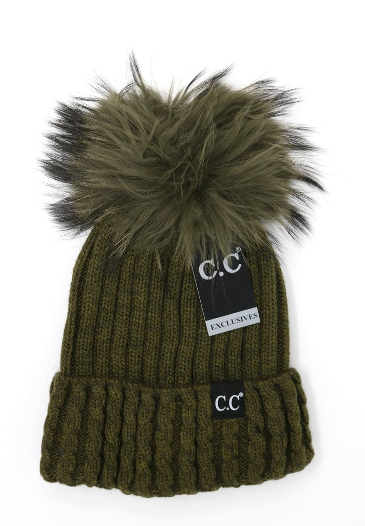 C.C Beanie Exclusive Black Label Cable Knit Ribbed Matching Fur Pom Pom Hat ST64