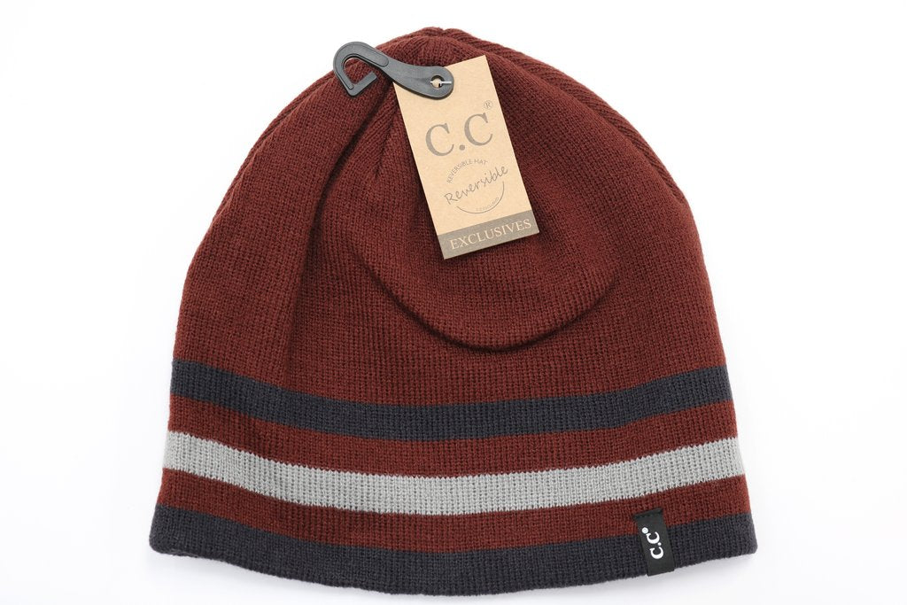 C.C Beanie Unisex Solid Striped Reversible Hat HTM6