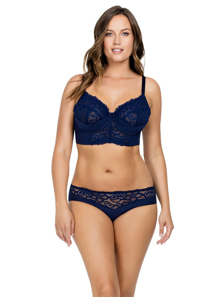 CORA UNLINED LONGLINE BRA – NAVY BLUE – P5632