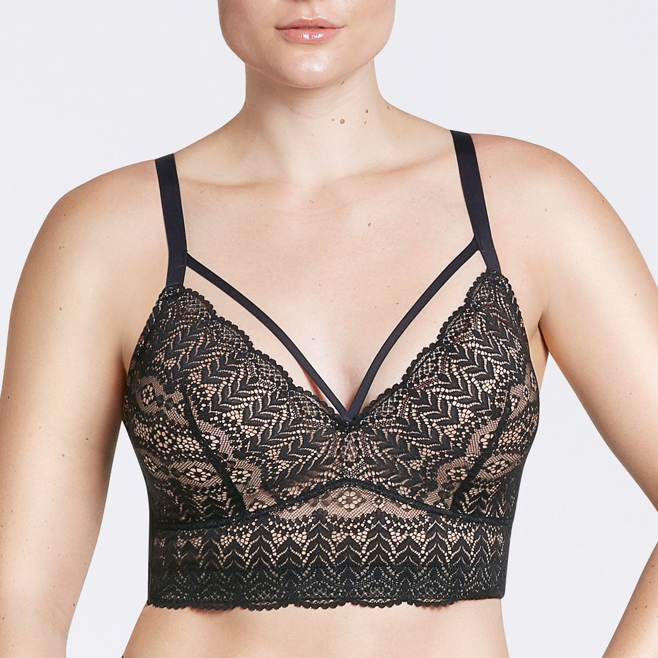 Parfait Mia Lace Wire-Free Padded Lace Brallette P5951 - Black
