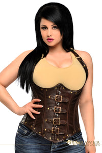 Daisy Corsets Top Drawer Steel Boned Distressed Faux Leather Underbust Corset Top TD-029