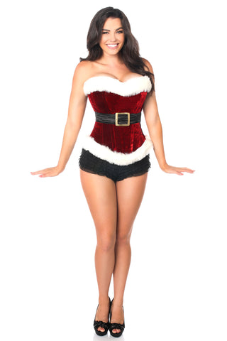 Daisy Corsets Top Drawer Red Holiday Velvet Steel Boned Corset TD-100