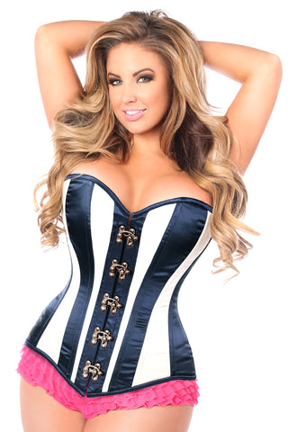 Daisy Corsets Top Drawer Ivory/Navy Blue Steel Boned Corset w/Clasp Closure TD-777