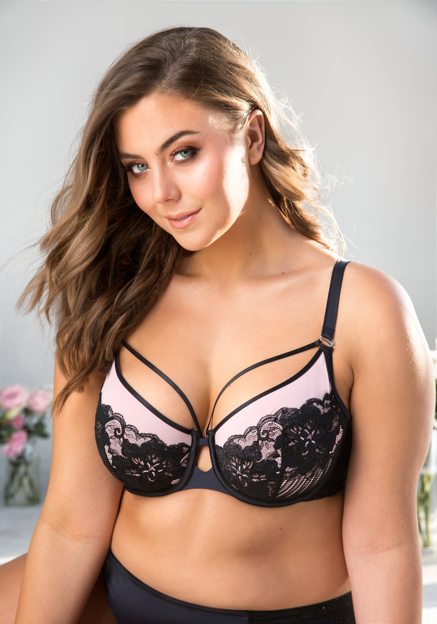 Curvy Couture Tulip Strappy Lace Push up Balconnette 1267E