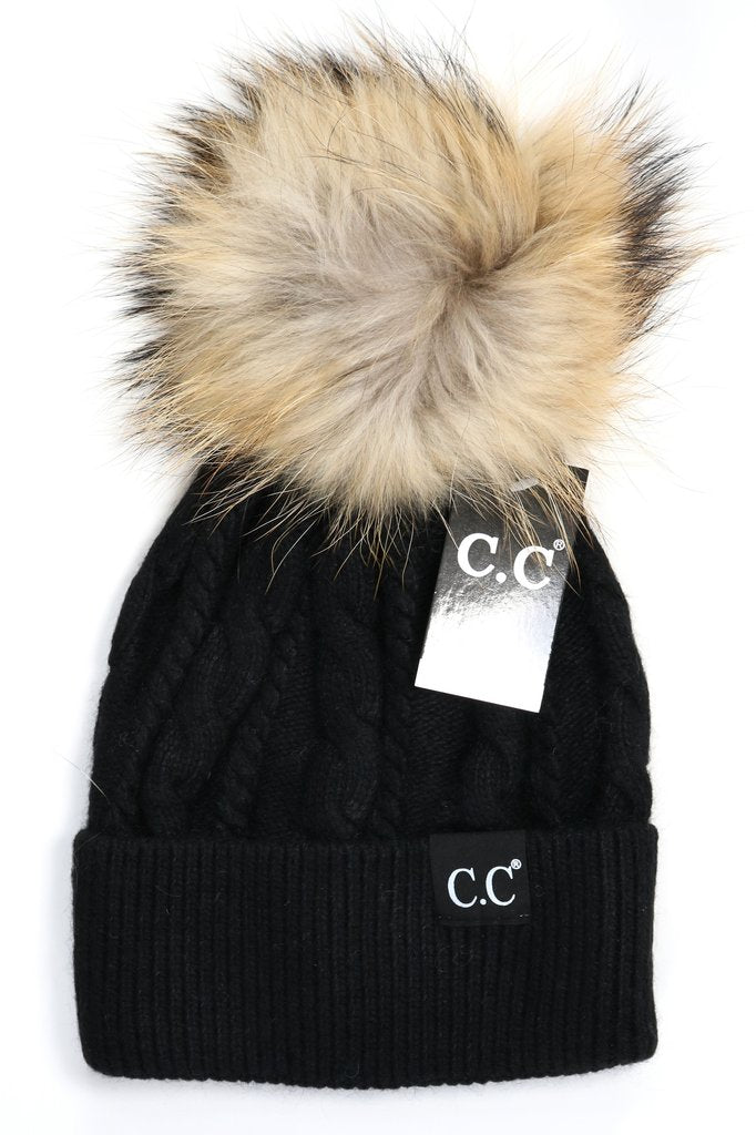 C.C Beanie Exclusive Black Label Special Edition Solid Cable Knit HAT402