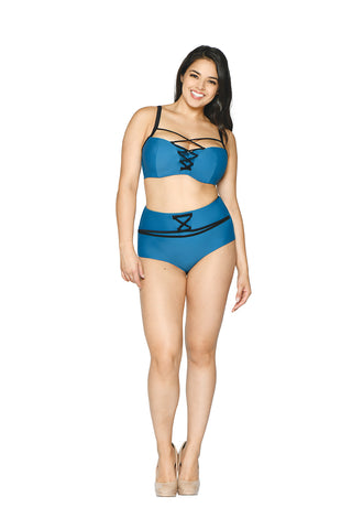 Curvy Kate Rock The Pool Petrol Blue Padded Balcony Bikini Top CS002300
