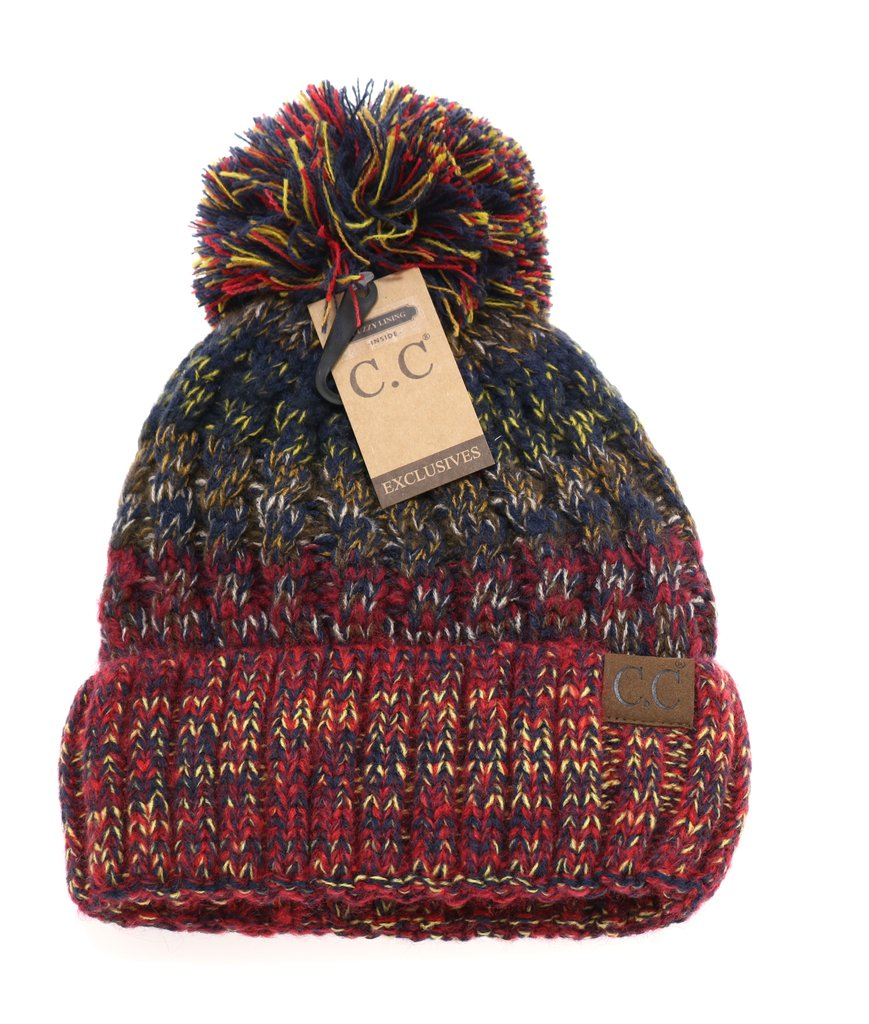 C.C Fuzzy Lined Tri-Color Pom Beanie HAT1816