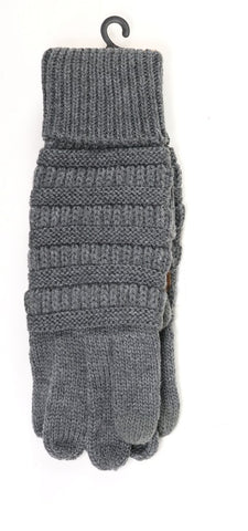 C.C Beanie Solid Cable Knit Gloves G20