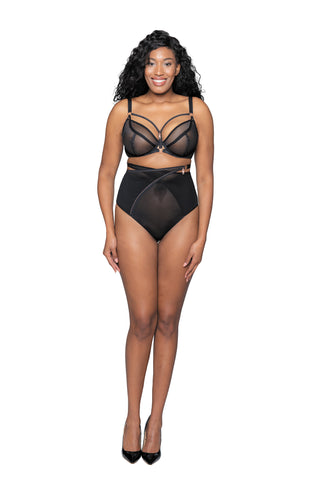 Scantilly by Curvy Kate Unzipped Black High Waist Brief ST005208