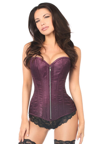 Daisy Corsets Top Drawer Plum Brocade Steel Boned Corset TD-814