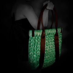 Woman holding Green Hampton Beach Bag