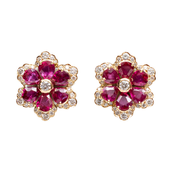 Ruby and Golconda Diamond Earrings
