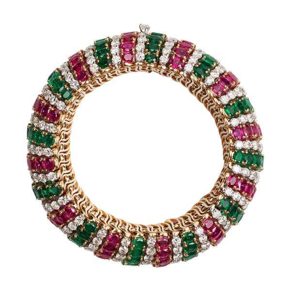 Emerald, Diamond and Burmese Ruby Bracelet