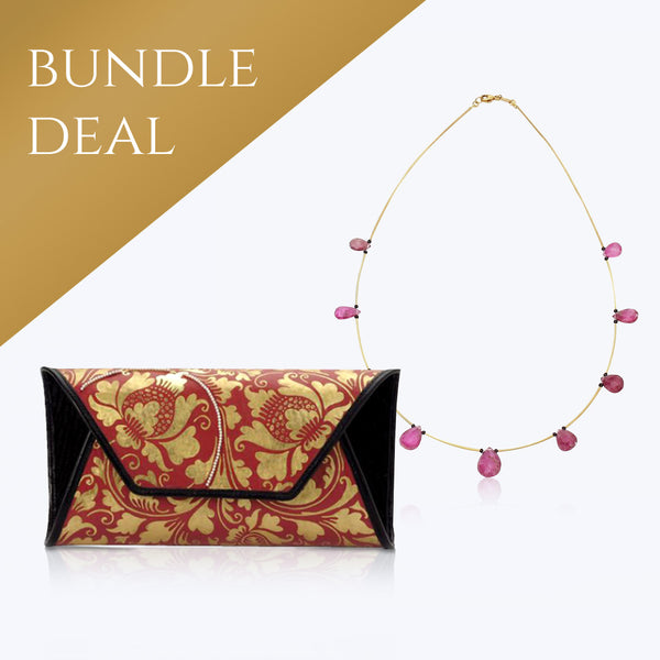 Red and Gold painted handbag with Pearls+ Taveez Necklace with Pink Tourmaline