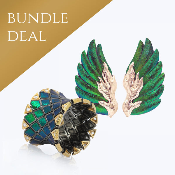 Scarab Flexible Ring with Diamonds + Scarab Earrings with 9 K Pink Gold