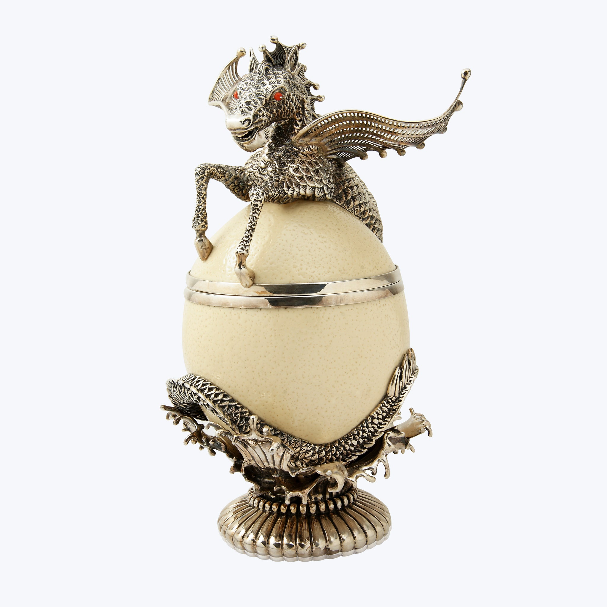Ostrich Egg with Silver Pegasus