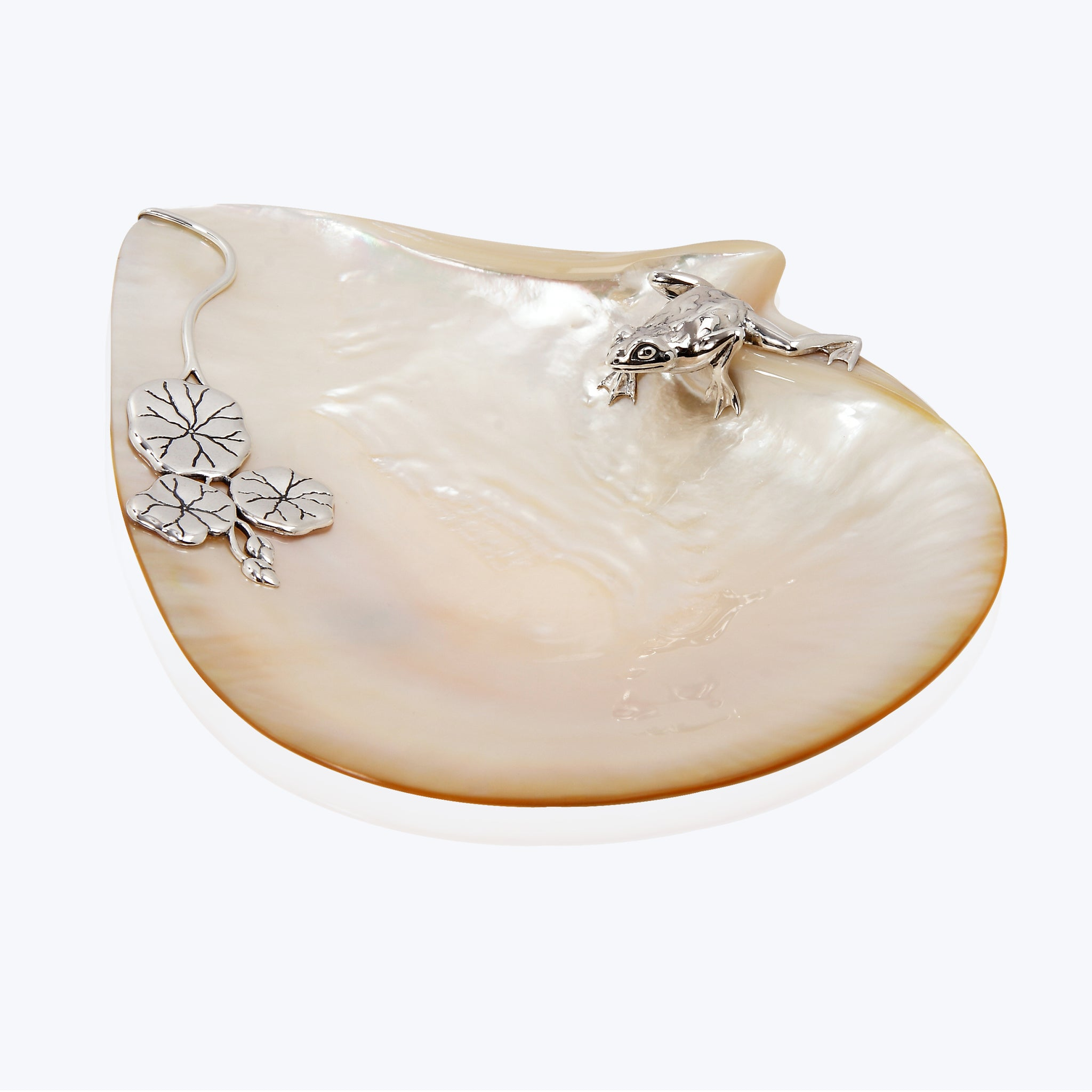 Mother of Pearl Plate with Frog and Lotus Leaves