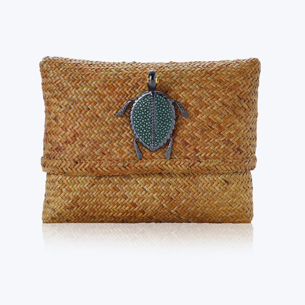 Rattan Handbag with Green Galuchat Turtle