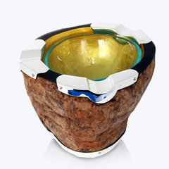 Coconut Ashtray with Silver