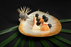Mother of Pearl Plate with Porcupine