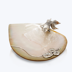 Mother of Pearl Plate with Goldfish & Lotus Leaves