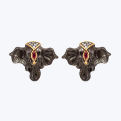 Silver Elephant Cufflinks with Diamonds & Rubies