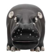 Brown Leather Hippo Stool