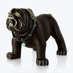 Brown Leather Bulldog Stool