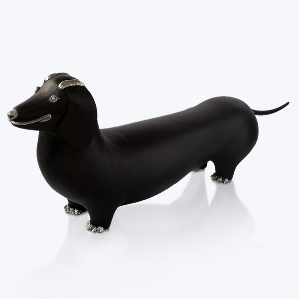 Brown Leather Sausage Dog Stool