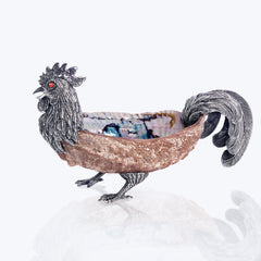 Rooster Bowl with Abalone Shell