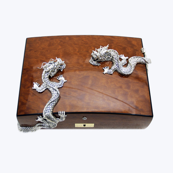 Cigar Humidor with Twin Swirling Silver Dragons