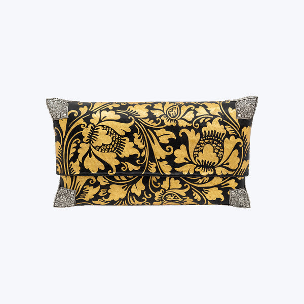 Tropical Woven Bamboo Clutch with Sterling Silver Decor (Black and Gold) #M-SP