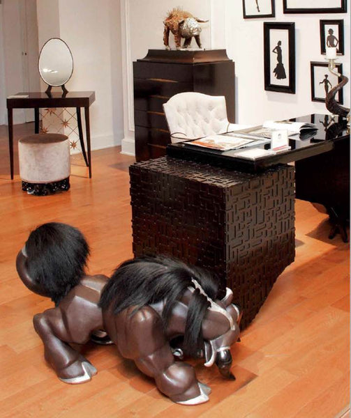 Brown Leather Bull Stool