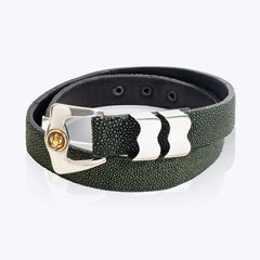 Green Galuchat belt with Lotus buckle