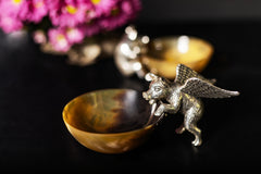 Buffalo Horn Bowl with Silver Flying Pig
