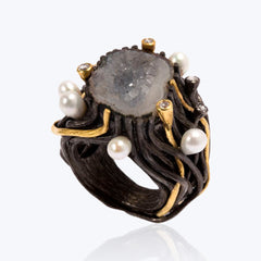 Crystal Agate Ring with Pearl & Diamond