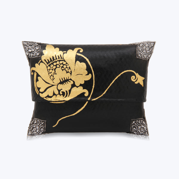 Black Bamboo Handbag with Gold Lotus