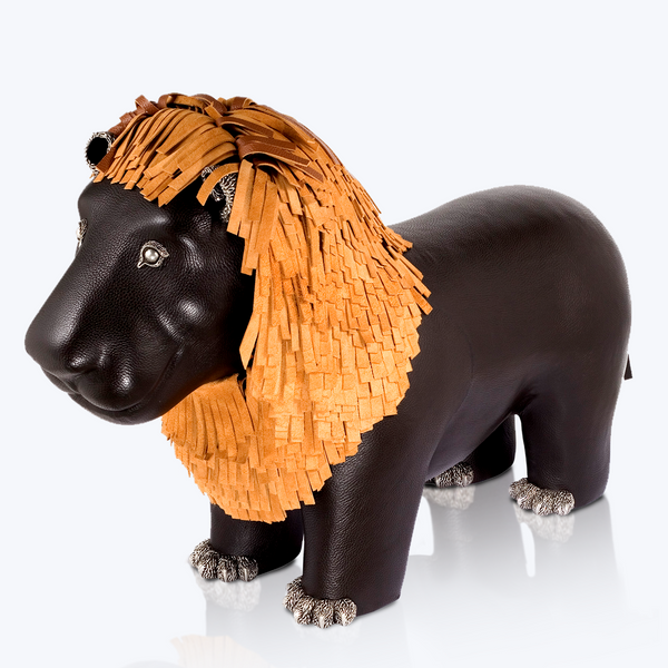 Brown Leather Lion Stool