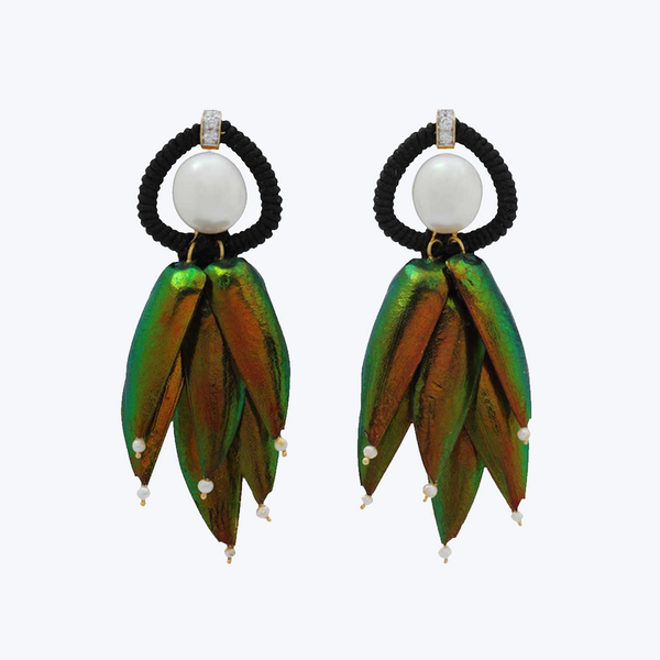 Scarab earrings with Pearls and Diamonds