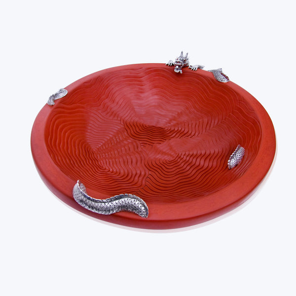 Cinnabar Red Lacquer Cloud Bowl with Silver Dragon