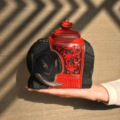 Red Lacquer Elephant handbag with Scarab